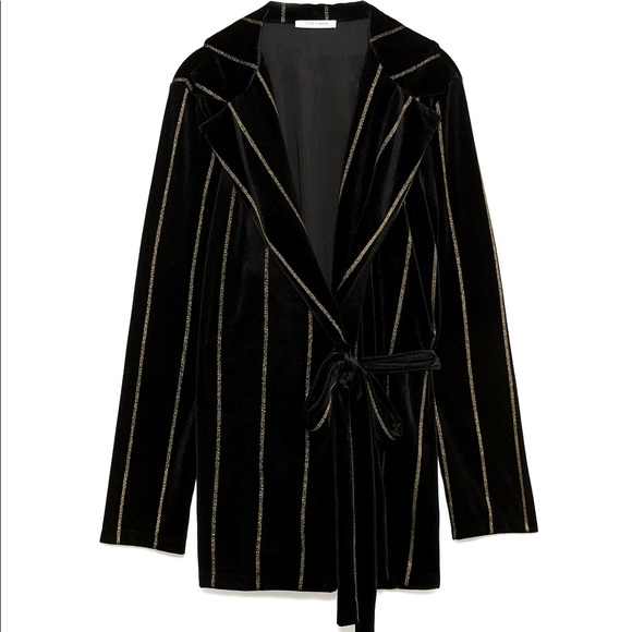 Zara Black Velvet Belted Blazer With Gold Stripes